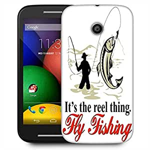 Snoogg Fly Fisherman Catching Trout With Fly Reel Designer Protective Phone Back Case Cover For Motorola E2 / MOTO E22