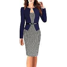 Minetom Femmes Vintage Grille Tunique Moulante Bureau des Affaires Robes  pour Le Travail Pencil Bodycon Party be70234f88c4