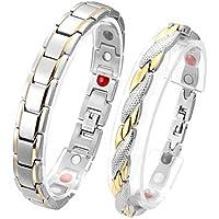 JOVIVI Partnerarmband Magnetarmband 2X Edelstahl Magnetische Armreif 4-in-1 Magnete Armband Armrief Silber-Gold preisvergleich bei billige-tabletten.eu