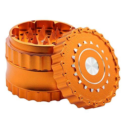 DCOU neues Design Premium Herb Grinder ø63mm 4 Stück Tabak Mühle mit Dreieck scharfen Zahn (Orange)