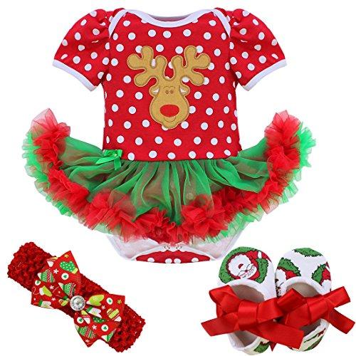 iixpin Baby-Mädchen Weihnachten Outfit Polka Dots/Elch/Weihnachtsmann/Weihnachtsbaum Strampler + Babyschuhe + Blumen Stirnband Set Party Festlich Bekleidung Rot C 0-3 Monate