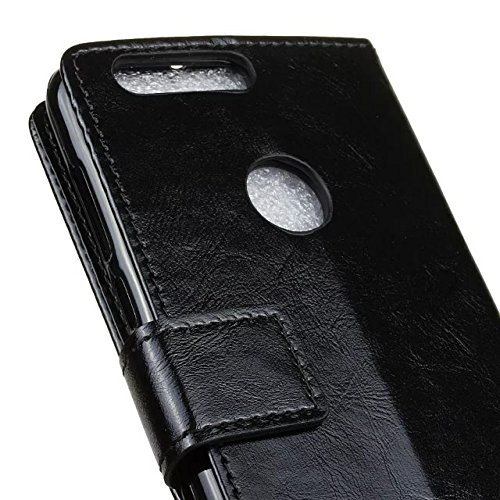 Verrückte Pferd Textur Muster Kunststoff PU Ledertasche horizontale Flip Ständer Fall Brieftasche Fall Deckung Solid Color Case für Huawei Hornor 8 ( Color : White , Size : Huawei Hornor 8 ) Black