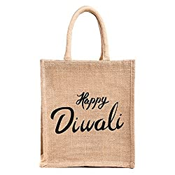 Diwali Gift/corporate gifts, Printed jute bag,specially design For Diwali gifting (Gift bag,Medium Size, Height:11in, Lenght: 9in, Width: 5.5in)