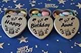 Happy Birthday Aunt Gift. Set of 3 Silver Mini Heart Tins Filled With Chocolate Dragees. Perfect Birthday Gift Present .Tin size 45mm x 45mm x20mm. (Aunt)