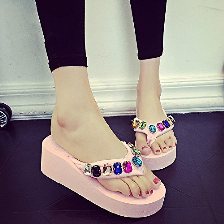 MEIDUO sandalias 5.5cm Los flip flops de los rhinestones de la manera del verano/los zapatos de la playa (negro...