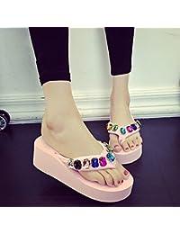 5.5cm Los flip flops de los rhinestones de la manera del verano / los zapatos de la playa (negro, azul, Brown, color de rosa, blanco) ( Color : Pink , Tamaño : EU36/UK4/CN36 )