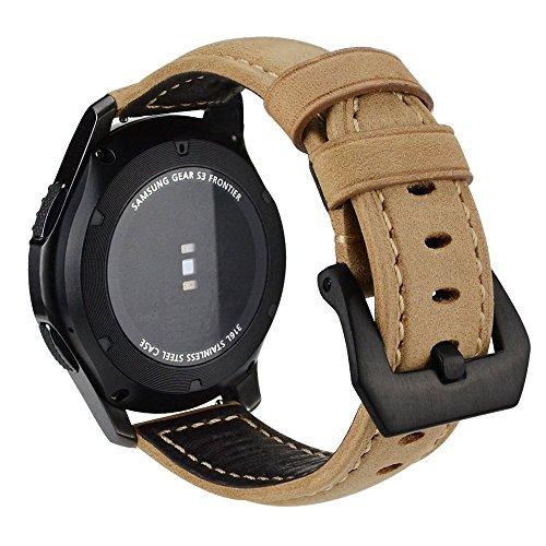 Armband für Gear S3 Frontier/ Classic, MroTech Lederarmband mit Schwarz Schnalle Echtes Leder Wiedereinbau Uhrenarmband für Gear S3 Frontier / Classic und Moto 360 2nd Gen 46mm Version Smartwatch (khaki-farbenen/ Größer) (Schwarz Leder Khaki)