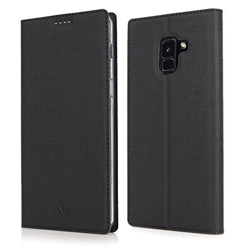 Feitenn Samsung Galaxy A8 2018 Hülle, dünne Premium PU Leder Flip Handy Schutzhülle | TPU-Stoßstange, Magnetverschluss, Kartenschlitz und Standfunktion Brieftasche Etui (Schwarz)