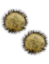 2 Piezas 13 cm Faux piel de mapache esponjoso POM POM Ball con broche extraíble Pins hebilla para hacer punto accesorios para lana de punto gorro de invierno gorro de esquí