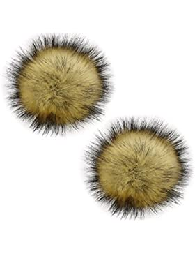 2 Piezas 13 cm imitación de piel de mapache esponjoso POM POM Ball con botón de prensa accesorios de tejer extraíble...