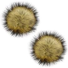 2 Piezas 13 cm imitación de piel de mapache esponjoso POM POM Ball con botón de prensa accesorios de tejer extraíble sombrero para tejer de lana tejida gorro de invierno gorro de esquí