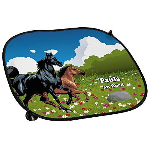 Auto-Sonnenschutz mit Namen Paula und schönem Pferde-Motiv für Mädchen - Auto-Blendschutz - Sonnenblende - Sichtschutz
