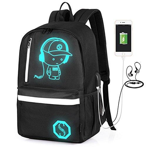 2-FNS Unisex Oxford Laptop-Tasche Schulrucksack Weiß White(USB & Headphone Port) Einheitsgröße