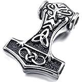 MunkiMix Edelstahl Anhänger Halskette Silber Irish Celtic Knot Irischen Keltisch Knoten Triquetra Amulett Retro Herren ,mit 58cm Kette