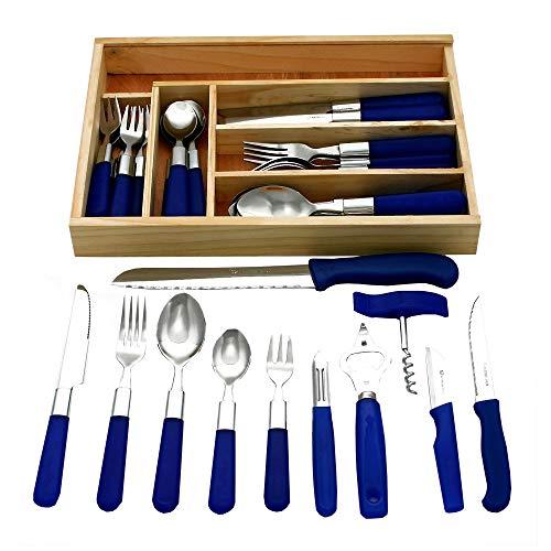 GRÄWE 37-teilig Starter-Set für 6 Personen aus Edelstahl, Menübesteck 30-teilig, inkl. 3 Küchenmesser, 3 Küchenhelfer, Schubladeneinsatz - Serie Milano
