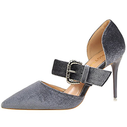 Oasap Women's Pointed Toe Buckle High Heels Suede Sandals Grey