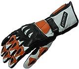 Heyberry Motorradhandschuhe Leder Motorrad Handschuhe schwarz weiß orange Gr. L