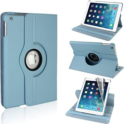 Best Style Premium 360 Degree rotation Quality Light Blue Horizontal & Vertical View Leather Cover For Apple iPad Air