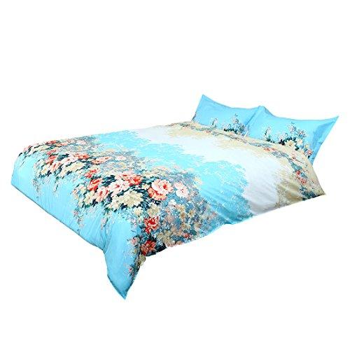 Preisvergleich Produktbild Blume Muster Kissenbezüge Bettbezug Bettwäsche-Set Queen Size Blaugrün