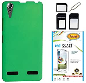Tidel Stylish Rubberized Plastic Back Cover For Lenovo A6010 ( Green ) With Tidel 2.5D TempePink Glass & Micro/Nano Sim Adapter