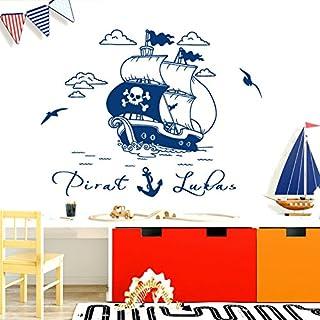 Wandora W1521 Wandtattoo Wandsticker Wandaufkleber Kinderzimmer Piratenschiff Pirat Schiff Wunschname Wandbild dunkelblau (BxH) 58 x 35 cm