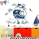 Wandora W1521 Wandtattoo Wandsticker Wandaufkleber Kinderzimmer Piratenschiff Pirat Schiff Wunschname Wandbild dunkelblau (BxH) 79 x 47 cm