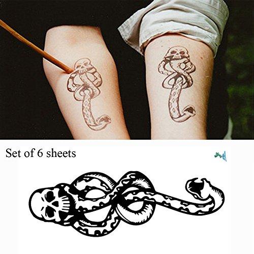 Yeeech, 6fogli di tatuaggi temporanei adesivi a tema harry potter, a forma di marchio nero dei mangiamorte con il caratteristico teschio e il serpente, impermeabili, per bambini, uomini e donne
