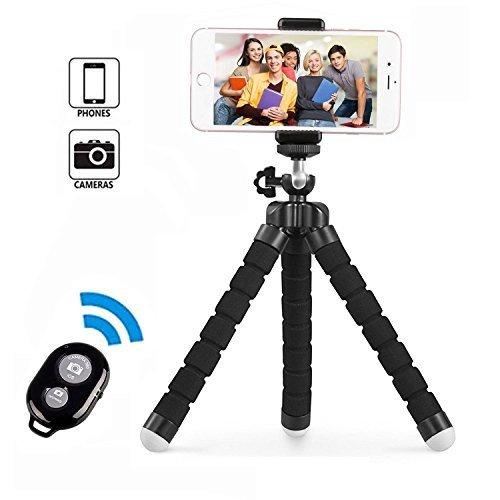 Handy Stativ, Smartphone Stativ, Mini Flexibel Reise Stativ, Handy Halter Halterung für Kamera, iPhone, Sumsung und Andere Android-Smartphone mit Bluetooth Fernsteuerung Shutter (Wickeln Beine)
