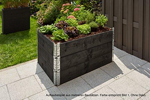 GARTENFREUDE Hochbeet Pflanzbeet Pflanzkübel Pflanzgefäße für Blumen etc. 60 x 80 x 19,5 cm aus Fichtenholz, erweiterbar, schwarz lasiert