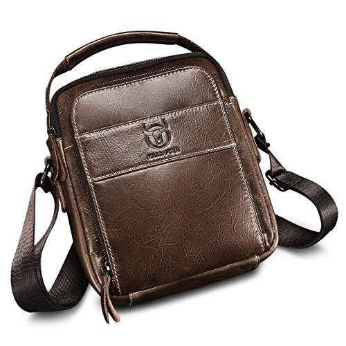 ZEROVIDA Leder Umhängetaschen Herren Klein Schultertaschen Männer Echtes Leder Business-Tasche Herrentasche Messenger Bag Männerhandtasche für IPAD MINI Tablet Tasche Crossbody Bag