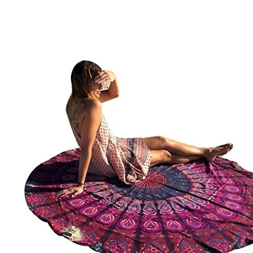 PINEsong Runde Hippie Tapisserie Strand werfen Roundie Mandala Handtuch Yoga Mat Bohemian strand badetuch Große Strandtücher Bohemian Style Strandhandtuch Strandtuch Handtücher Schal (Rot)