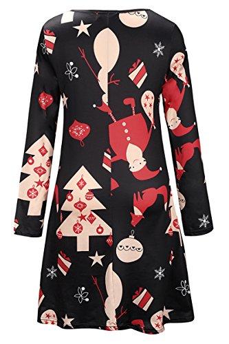 YMING Femme Robe Longues Manches Casual Tunique Style Basique T-Shirt Tops Mini Robe 14 Couleur,XS-XXXXL Xmas-Arbre de Noël-Rouge