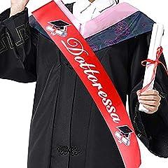 Idea Regalo - FLOFIA Fascia Dottoressa Laurea Fusciacca Sciarpa Fascia Laureata Dottoressa Gadget Accessori per Festa Cerimonia di Laurea Party Rosso