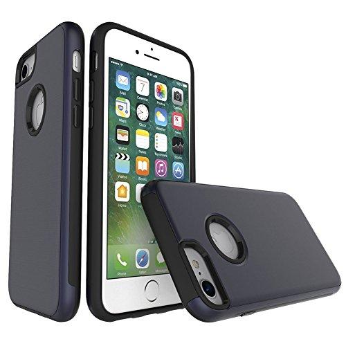 EKINHUI Case Cover Für Apple IPhone 7 Fall, gebürstetes Metallic Finish Rückseitige Abdeckung Dual Layer 2 In 1 Hybrid Hard PC Soft TPU Stoßdämpfer Stoßfeste Gehäuseabdeckung ( Color : Rose Gold ) Blue