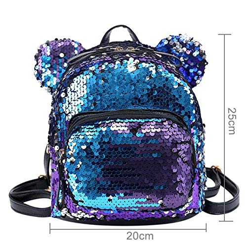 Best mini backpacks for girls in India 2020 MOCA Mini Small Backpack Daypack for Womens Girls Sequins Mini Small Travelling Outdoor Picnic School College Office Casual Daily use Daypack Backpack Rucksack Back Bag for Womens Girls Kids (Purple) Image 2