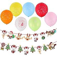 Kesote Conjunto en 2 Banner Navidad + 60 Globos de Colores Mezclados Bandera Navidad con Diseños