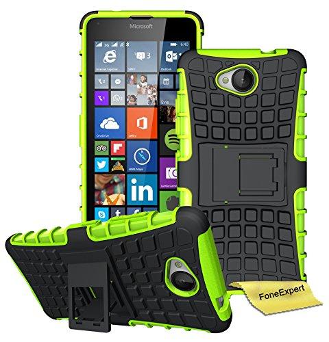 Microsoft Lumia 650 Handy Tasche, FoneExpert® Hülle Abdeckung Cover schutzhülle Tough Strong Rugged Shock Proof Heavy Duty Case für Microsoft Lumia 650 + Displayschutzfolie (Grün)