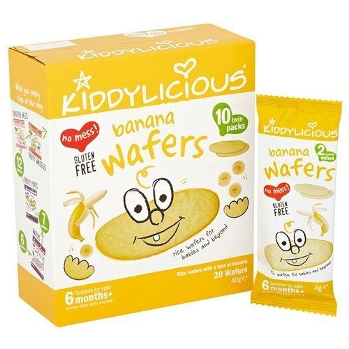 Kiddylicious/Wafer Di Banane 10 Wafer 20G 6 Confezione da 2 Mesi