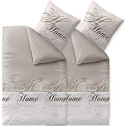 CelinaTex Touchme Bettwäsche 135 x 200 cm 4teilig Baumwolle Bettbezug Biber Sarah Wörter beige braun weiß