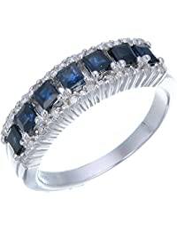 Sterling Silver Blue Sapphire & Diamond Wedding Band (0.70 CT)