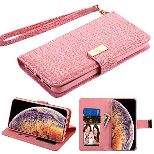 Case+Tempered_Glass Schutzhülle für Apple iPhone XS MAX/XS Plus, PU-Leder, Krokodilprägung, Pink Samsung Pink Transparent Faceplates