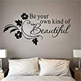 WSYYW Seien Sie Ihre eigene Art von schönen Vinyl Wandaufkleber Zitate Schriftzug Worte für Kinder Mädchen Schlafzimmer Badezimmer Wohnkultur Aufkleber golden 65x31cm