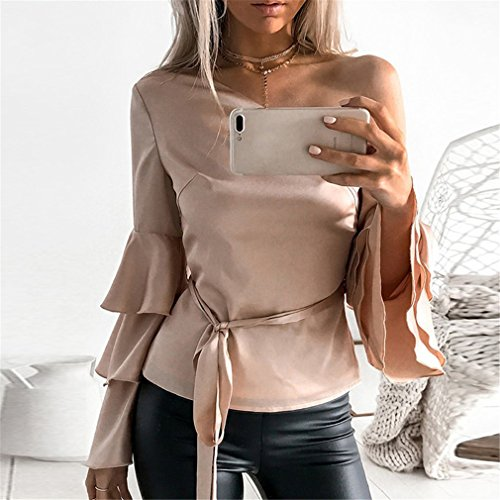 LnLyin Beige Damen Modisches Schulterhornhülse Normallack Langhülse Hemd Sweatshirt Top Shirt Bluse Damen Mädchen Frauen