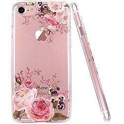 JIAXIUFEN iPhone 6 Hülle, iPhone 6S Hülle, TPU Silikon Schutz Handy Hülle Transparent HandyHülle Schutzhülle Case Cover Huelle Handyhuelle für Apple iPhone 6 6S - Rose Flower