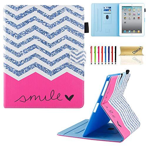 3/4Fall, dteck Mehreren Sichtwinkeln Folio Ständer Smart iPad Schutzhülle Hülle mit Auto Sleep/Wake Schutzhülle für iPad 4. Generation, iPad 3und iPad 2, rot ()