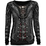 Spiral Gothess Wrap Langarm T Shirt Top Waisted Gothic Tattoo - Girlie
