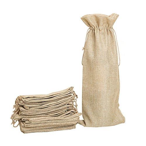 Especificaciones: Color: marrón. Tamaño: 34 x 15 cm. Material: arpillera de yute natural y respetuosa con el medio ambiente. El paquete incluye: 10 bolsas de vino de arpillera. Características: El tejido es respetuoso con el medio ambiente y suave co...