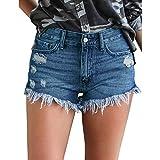 Hocaies Damen Jeansshorts Basic in Aged-Waschung Jeans Bermuda-Shorts Kurze Hosen aus Denim für den Damen Sommer Denim Kurze Hose mit Quaste Ripped Loch Hotpants (40 (30W), Dunkel Blau)