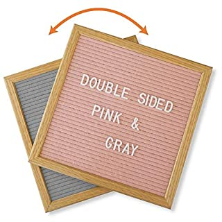 Double Sided Gray and Pink Felt Letter Board with Block Stand and 600 Characters. 10x10 Inch Open Face Changeable Sign Board made from American Oak Wood.