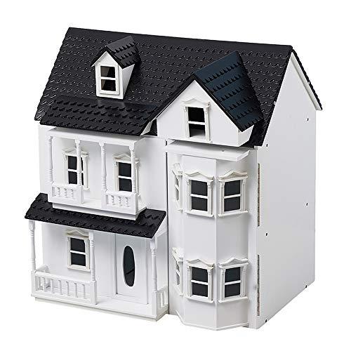 hiliroom cottage per case delle bambole in legno, classica casa delle bambole vittoriana in legno, casa delle bambole con scale per bambine ragazzi bambini